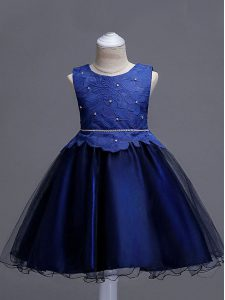 Stunning Navy Blue Sleeveless Knee Length Lace Zipper Little Girls Pageant Dress