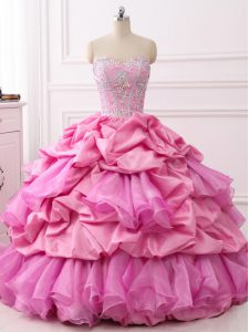 Elegant Rose Pink Sleeveless Beading and Ruffles and Pick Ups Floor Length Quinceanera Dresses