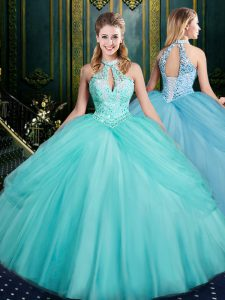 Halter Top Sleeveless 15th Birthday Dress Floor Length Beading and Pick Ups Aqua Blue Tulle