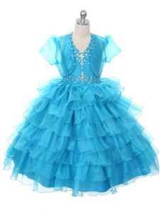 Beading and Ruffled Layers and Bowknot Child Pageant Dress Baby Blue Lace Up Sleeveless Floor Length