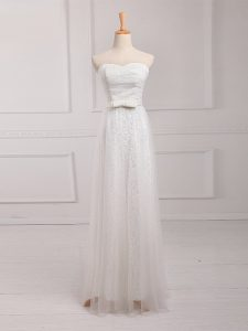 White Sweetheart Neckline Belt Quinceanera Dama Dress Sleeveless Lace Up