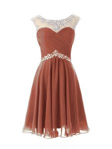New Style Brown Cap Sleeves Knee Length Beading Zipper Prom Evening Gown