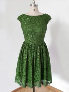 Empire Quinceanera Court Dresses Olive Green Scoop Lace Cap Sleeves Knee Length Lace Up