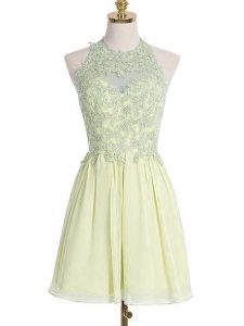 Light Yellow Empire Halter Top Sleeveless Chiffon Knee Length Lace Up Appliques Damas Dress
