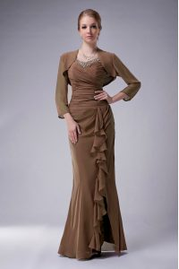 Sleeveless Chiffon Floor Length Zipper Dress for Prom in Brown with Beading