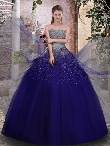 Decent Sleeveless Lace Up Floor Length Beading Ball Gown Prom Dress