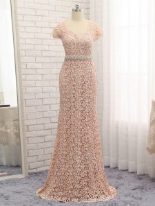 Floor Length Peach Evening Dress Lace Cap Sleeves Beading and Belt
