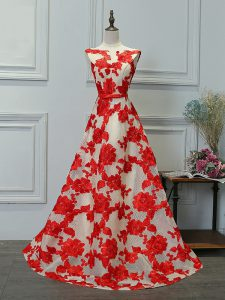 White And Red Printed Lace Up Bateau Sleeveless Floor Length Homecoming Dress Appliques