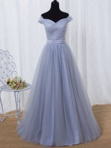 Tulle Sleeveless Floor Length Dress for Prom and Ruching and Belt
