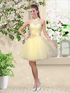 Halter Top Sleeveless Tulle Court Dresses for Sweet 16 Lace and Belt Lace Up