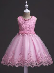 Sleeveless Knee Length Lace Zipper Little Girls Pageant Gowns with Rose Pink