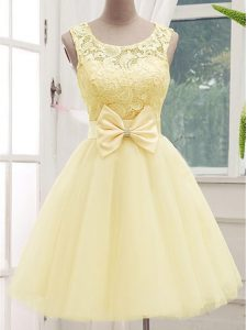 Sleeveless Lace and Bowknot Lace Up Quinceanera Dama Dress