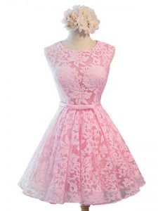Shining Baby Pink A-line Scoop Sleeveless Lace Knee Length Lace Up Belt Dama Dress for Quinceanera