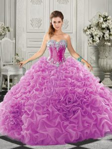 Custom Designed Lilac Organza Lace Up Sweetheart Sleeveless Quinceanera Dress Court Train Beading and Ruffles