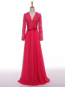 Luxurious Hot Pink Empire Chiffon V-neck Long Sleeves Lace and Appliques and Belt Floor Length Zipper Prom Party Dress