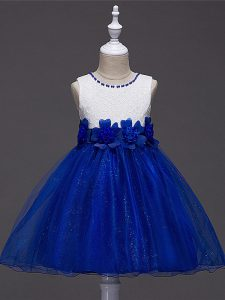 Dramatic Royal Blue Sleeveless Lace and Hand Made Flower Knee Length Pageant Dress Womens
