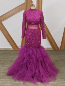 Fuchsia Zipper Dress for Prom Lace and Ruffles Long Sleeves Floor Length