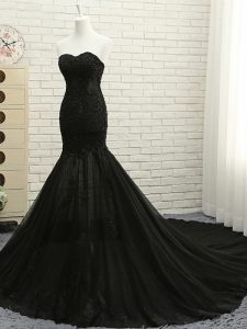 Lace Up Formal Evening Gowns Black for Prom and Party with Lace and Appliques Court Train