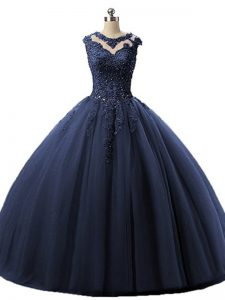 High Class Floor Length Ball Gowns Sleeveless Navy Blue Quinceanera Gowns Lace Up