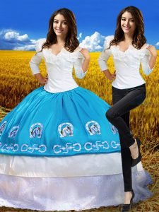 Amazing 3 4 Length Sleeve Floor Length Embroidery Lace Up Quince Ball Gowns with Blue And White