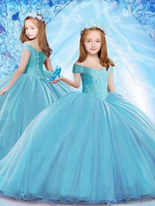 Excellent Baby Blue Organza Lace Up Off The Shoulder Cap Sleeves Kids Formal Wear Brush Train Beading