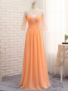 New Style Long Sleeves Floor Length Lace and Appliques and Ruching Zipper Evening Outfits with Orange