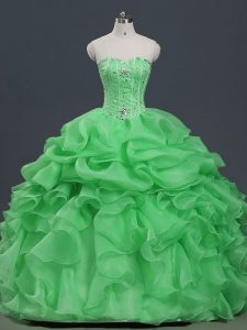Floor Length Lace Up Sweet 16 Dresses for Military Ball and Sweet 16 and Quinceanera with Beading and Ruffles and Pick Ups