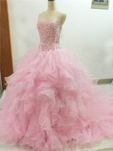 Spectacular Organza Sleeveless Quinceanera Dresses Brush Train and Beading and Ruffles