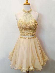 Knee Length Champagne Dama Dress for Quinceanera Organza Sleeveless Beading