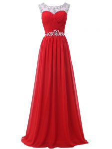 Glittering Red Backless Scoop Beading and Ruching Prom Evening Gown Chiffon Sleeveless