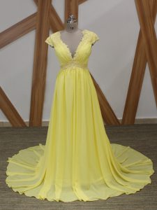 Beauteous Zipper Dress for Prom Yellow for Prom and Military Ball and Sweet 16 with Lace and Appliques Brush Train