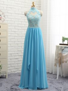 Stunning Baby Blue Chiffon Backless Halter Top Sleeveless Floor Length Prom Evening Gown Appliques