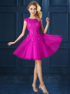 Fuchsia A-line Lace and Belt Vestidos de Damas Lace Up Tulle Cap Sleeves Knee Length