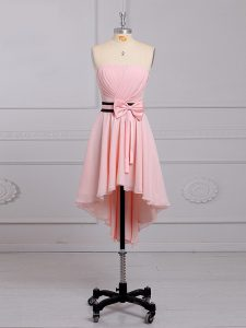 High Low Baby Pink Dama Dress for Quinceanera Chiffon Sleeveless Ruching and Bowknot