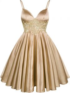 Superior Knee Length Champagne Quinceanera Court Dresses Elastic Woven Satin Sleeveless Lace