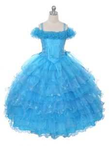 Organza Off The Shoulder Sleeveless Lace Up Ruffles and Ruffled Layers Pageant Gowns in Baby Blue