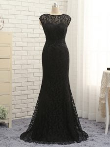 Customized Sleeveless Lace Zipper Prom Gown in Black with Lace and Appliques