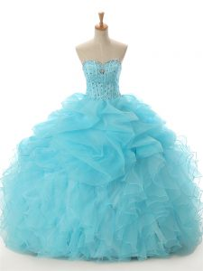 Exquisite Beading and Ruffled Layers Quinceanera Gown Aqua Blue Lace Up Sleeveless Floor Length