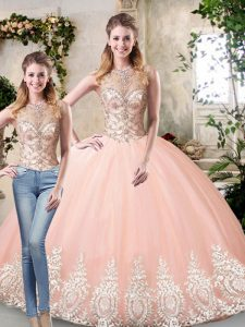 High End Peach Lace Up Scoop Beading and Lace and Appliques Sweet 16 Dress Tulle Sleeveless