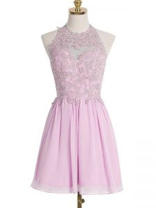 On Sale Lilac Lace Up Quinceanera Court Dresses Appliques Sleeveless Knee Length