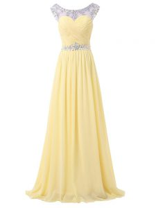 Light Yellow Backless Scoop Beading and Ruching Dress for Prom Chiffon Sleeveless