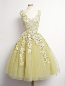 Yellow Lace Up V-neck Appliques Dama Dress for Quinceanera Tulle Sleeveless