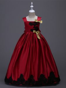 Floor Length Wine Red Pageant Dress Taffeta Sleeveless Appliques and Bowknot