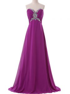 Sweetheart Sleeveless Brush Train Lace Up Prom Dress Eggplant Purple Chiffon