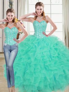 Captivating Organza Sweetheart Sleeveless Brush Train Lace Up Beading and Ruffled Layers 15th Birthday Dress in Turquoise