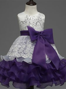 White And Purple Sleeveless Tea Length Lace and Ruffled Layers and Bowknot Zipper Pageant Dresses