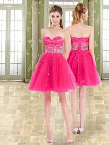 Unique Hot Pink Sweetheart Neckline Beading and Ruffles Evening Outfits Sleeveless Lace Up
