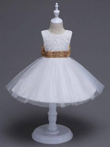 Admirable Scoop Sleeveless Tulle Child Pageant Dress Lace and Bowknot Zipper