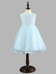 Low Price Light Blue Tulle Zipper Kids Formal Wear Sleeveless Knee Length Lace and Bowknot