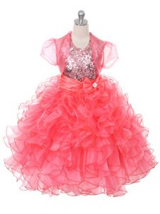 Floor Length Coral Red Pageant Dress Toddler Organza Sleeveless Ruffles and Sequins and Bowknot